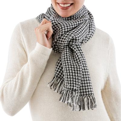 100% alpaca scarf, 'Black and White' - 100% alpaca scarf