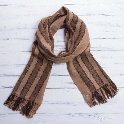 100% alpaca scarf, Cinnamon Chocolate