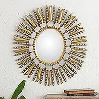 Mirror, 'Winter Sunburst' - Starburst Bronze Leaf Mirror from Peru