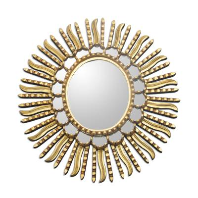 Mirror, 'Winter Sunburst' - Starburst Bronze Leaf Mirror from Peru