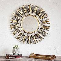 Mirror, 'Summer Sun' - Wood and Bronze Leaf Sun Mirror Frame