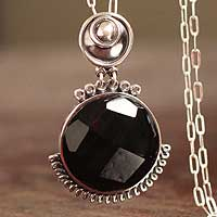 Obsidian pendant necklace, 'Namesake' - Obsidian pendant necklace