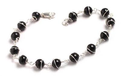 Onyx chain bracelet, 'Harmony' - Silver and Black Onyx Chain Bracelet