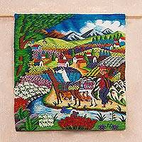 Wool tapestry, 'Harvesting Flowers' - Hand Woven Wool Tapestry