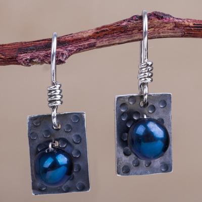 Pearl dangle earrings, 'Black Shimmer' - Modern Fine Silver Dangle Pearl Earrings