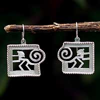 Silver dangle earrings, 'Playful' - Peru Modern Silver Dangle Earrings