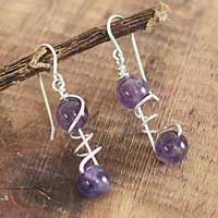 Amethyst dangle earrings, 'Young Love' - Amethyst dangle earrings