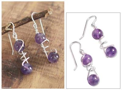 Amethyst dangle earrings, 'Young Love' - Amethyst dangle earrings