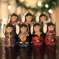 Ceramic ornaments, 'Angel Chorus' (set of 7)