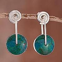 Chrysocolla dangle earrings, 'Magic Circle' - Modern Sterling Silver Chrysocolla Drop Earrings