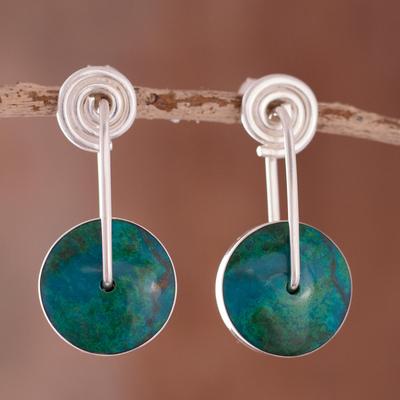 Chrysocolla dangle earrings, 'Magic Circle' - Modern Sterling Silver Chrysocolla Drop Earrings