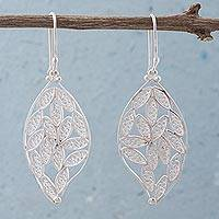 Silver dangle earrings, 'Autumn Filigree' - Silver dangle earrings