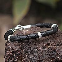 Men's leather braided bracelet, 'Bold Black' - Collectible Men's Leather and Silver Wristband Bracelet