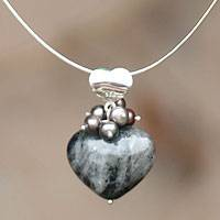 Pearl and feldspar heart necklace, 'Love Mysteries' - Handcrafted Heart Shaped Sterling Silver Pendant Feldspar Ne