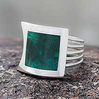 Chrysocolla cocktail ring, 'Glimpse of Nature' - Peru Silver And Chrysocolla Ring