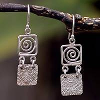Sterling silver dangle earrings, 'Energy Spiral'