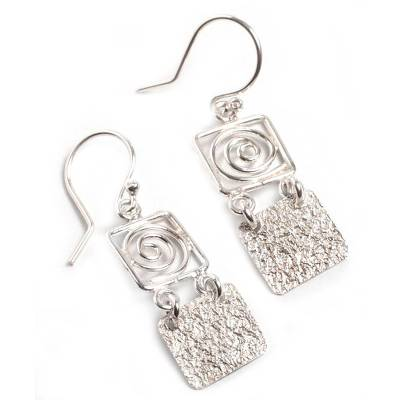 Sterling silver dangle earrings, 'Energy Spiral' - Collectible Modern Sterling Silver Dangle Earrings