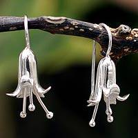 Silver flower earrings, 'Lily' - Collectible Floral Fine Silver Drop Earrings