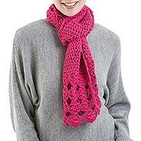 100% alpaca scarf, 'Fuchsia Bloom' - 100% alpaca scarf