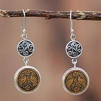 Mate gourd earrings, 'Dovecote' - Mate gourd earrings