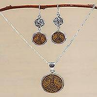 Mate gourd jewelry set, 'Love and Peace' - Mate Gourd Earrings and Necklace Jewelry Set
