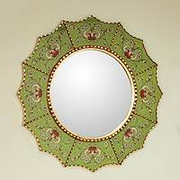 Mirror, 'Emerald Stars' - Reverse Painted Glass Wall Mirror