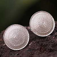 Silver filigree cufflinks, 'Starlit Moon' - Silver filigree cufflinks