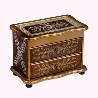 Painted glass jewelry box, 'Splendor' - Unique Reverse Painted Glass Jewelry Box