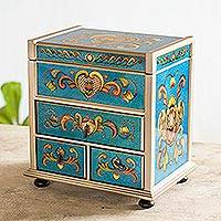 Painted glass jewelry box, 'Azure Heart' - Handcrafted Reverse Painted Glass Wood jewellery Box