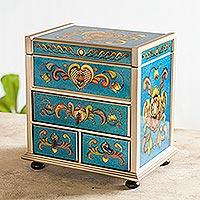 Painted glass jewelry box, 'Azure Heart'