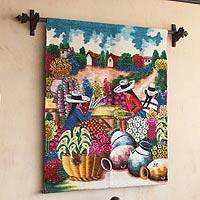 Wool tapestry, 'The Florists' - Andean Flower Wall Tapestry