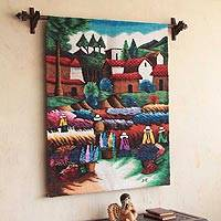 Wool tapestry, 'Flowers to Harvest'