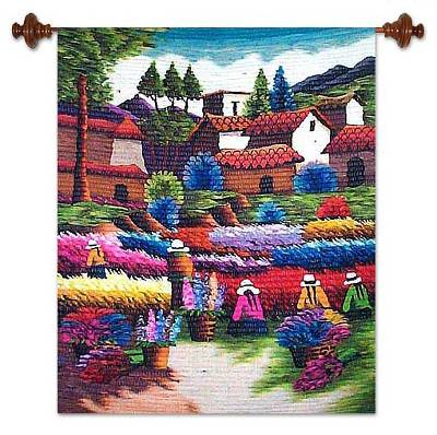 Wool tapestry, 'Flowers to Harvest' - Unique Floral Wool Tapestry Wall Hanging