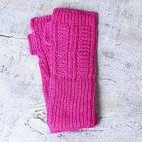 Alpaca blend fingerless mitts, 'Fuchsia Winter' - Alpaca blend fingerless mitts