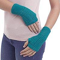 Alpaca blend fingerless mitts, 'Fresh Winter' - Alpaca blend fingerless mitts