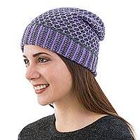 Alpaca blend hat, 'Grape Honeycomb' - Alpaca blend hat