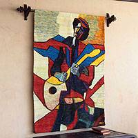 Wool tapestry, 'Guitarist' - Wool tapestry