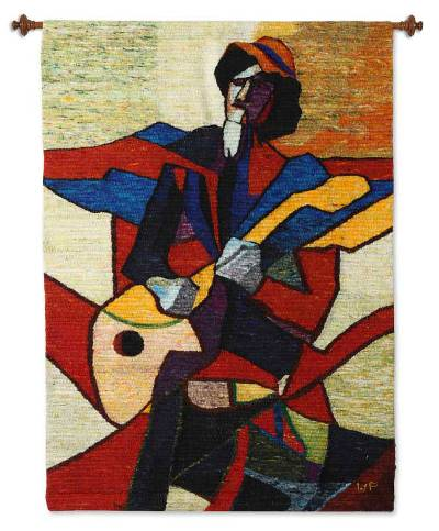 Wool tapestry, 'Guitarist' - Wool tapestry