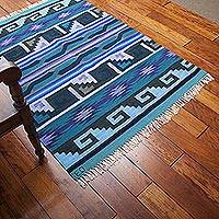 Wool rug, 'Pacific Night' (4x5.5) - Hand Woven Wool Area Rug (4x5.5)