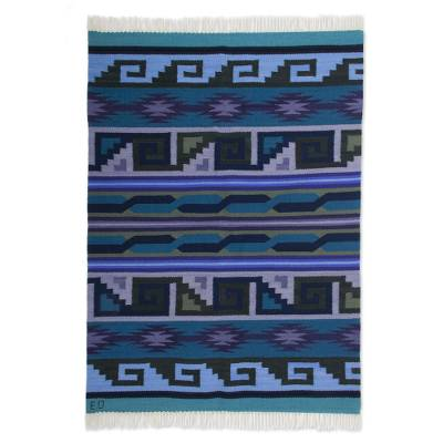 Wool rug, 'Pacific Night' (4x5.5) - Unique Expertly Hand Woven Wool Area Rug (4x5.5)