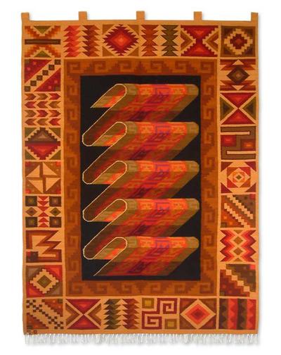 Wool tapestry, 'Inca Treasure' - Handcrafted Geometric Wool Tapestry