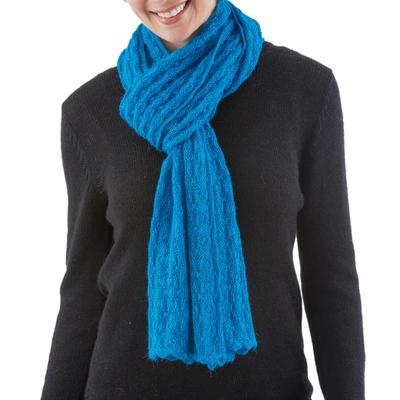 Alpaca blend scarf, 'Piura Blue' - Alpaca blend scarf