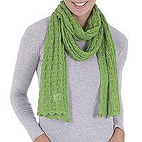 Alpaca blend scarf, 'Piura Green' - Pure Alpaca Wool Scarf