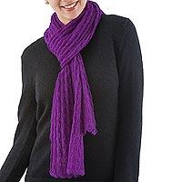 Alpaca blend scarf, 'Piura Lilac'