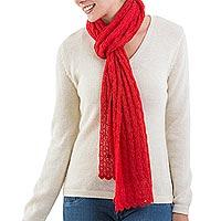 Alpaca blend scarf, 'Piura Red' - Alpaca blend scarf