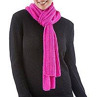 Alpaca blend scarf, 'Pink Glam' - Alpaca blend scarf