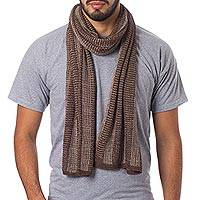Alpaca blend men's scarf, 'Hot Chocolate'