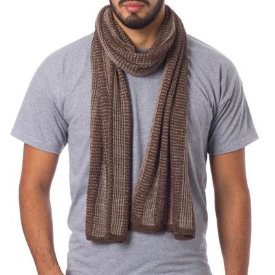Alpaca blend men's scarf, 'Hot Chocolate' - Alpaca blend men's scarf
