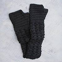 100% alpaca fingerless mitts, 'Grille' - Black Alpaca Knit Fingerless Mitts