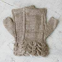 100% alpaca fingerless mitts, 'Petals' - Handmade Alpaca Wool Solid Beige Fingerless Mitts